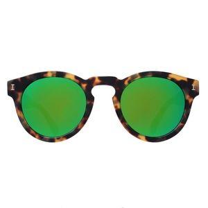 Illesteva Sunglasses Leonard Tortoise Green Mirror